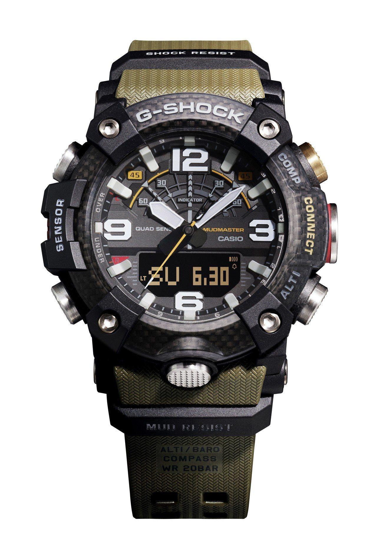 G-Shock GG-B100-1A3腕表,碳纖維表殼、表圈,11,000元。圖...