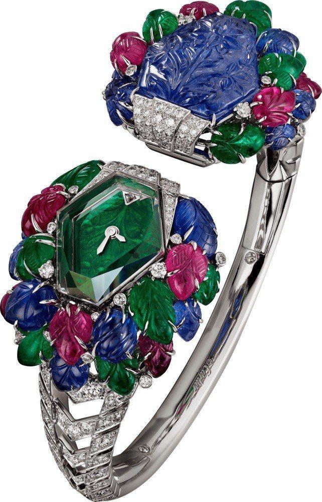 TUTTI KUBERA 腕表手環,白K金鑲嵌一顆14.35克拉花式切割雕刻緬甸...