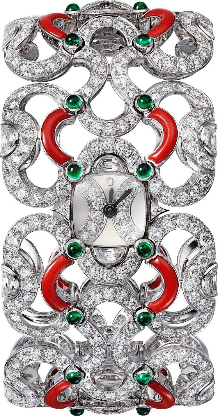 ONDOYANTE CORAIL 腕表手環,白K金鑲嵌32顆祖母綠珠共2.77克...