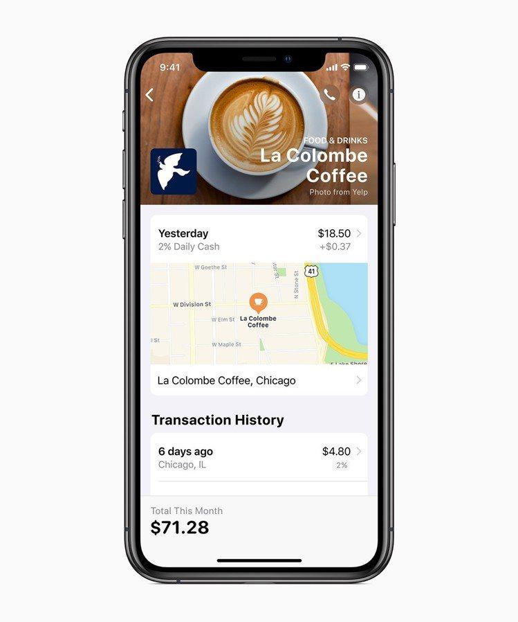 Apple Card存在Wallet App中,供使用者隨時檢視詳細消費紀錄。圖...