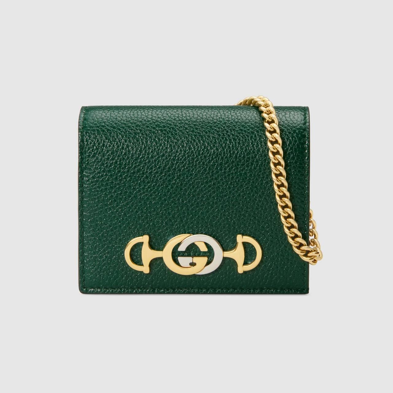 Gucci Zumi綠色鍊帶卡夾,20,400元。圖/Gucci提供