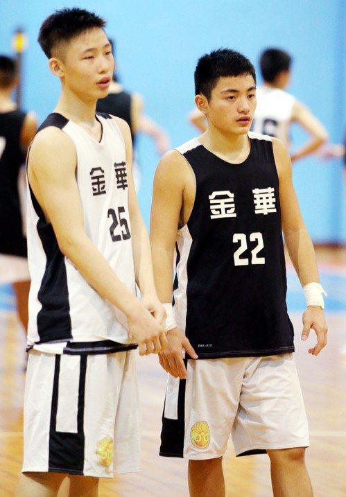 金華國中籃球隊員陳昶勳(左)、江政恩(右)。記者侯永全/攝影