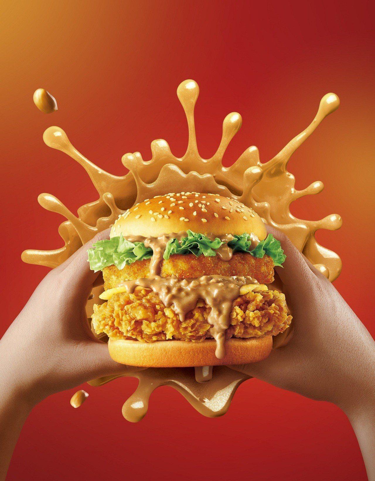 肯德基新推出的「花生熔岩咔啦雞腿堡」,多層次絕妙風味獲得花生醬控的超高迴響。肯德...