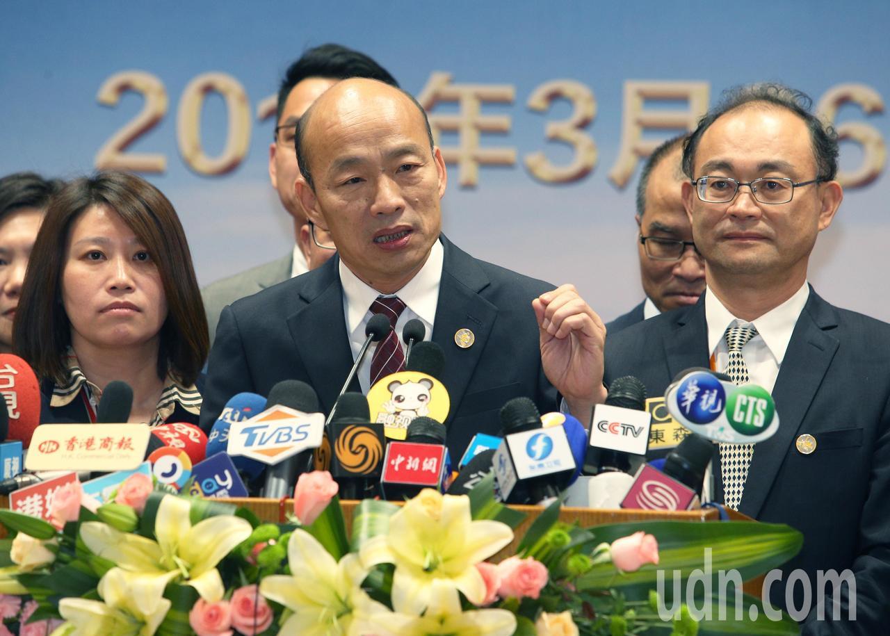 針對國民黨打算徵召2020選總統,高雄市長韓國瑜表示現在現在不在考量之內。記者劉...