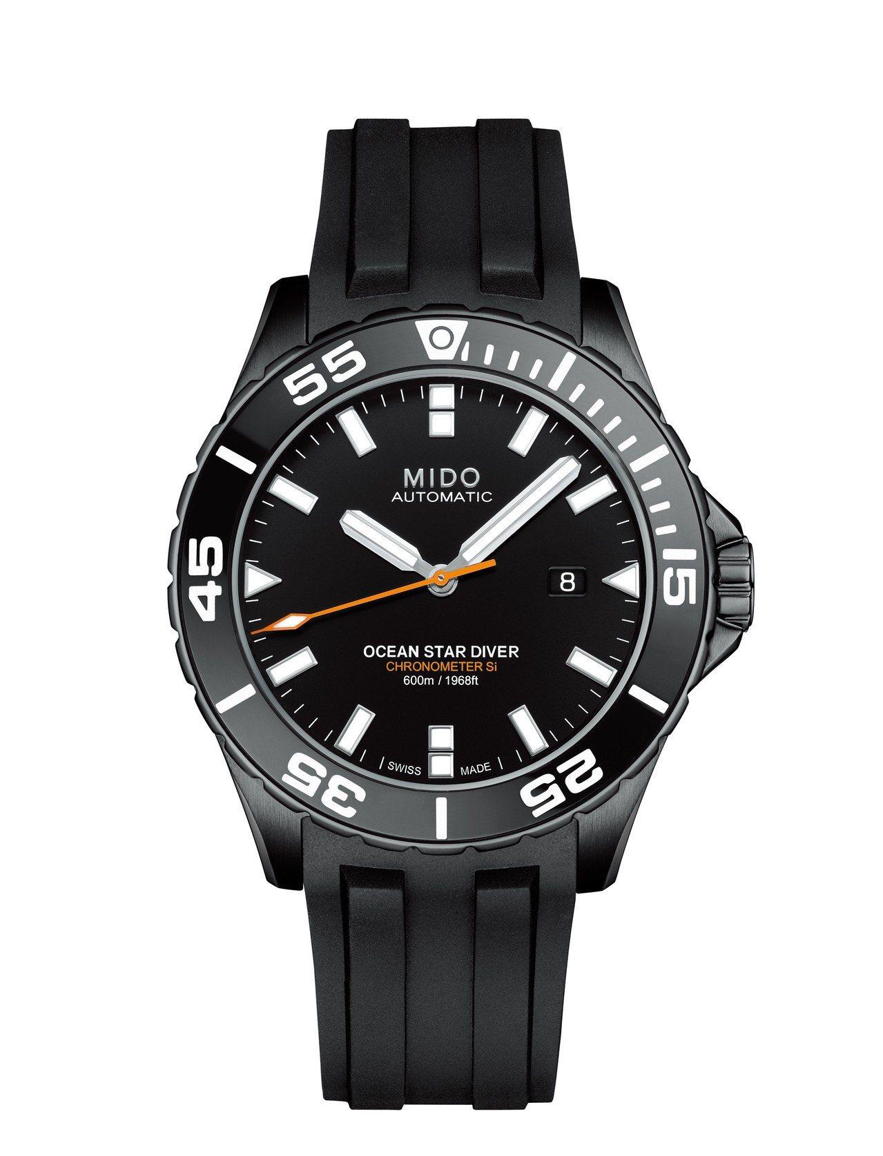 美度Ocean Star 600海洋之星深潛600米腕表,黑色PVD不鏽鋼表殼,...