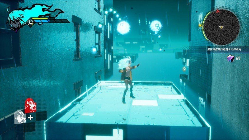 雨天的關卡需要利用平台在水域移動,同時要閃避敵人的彈幕攻擊