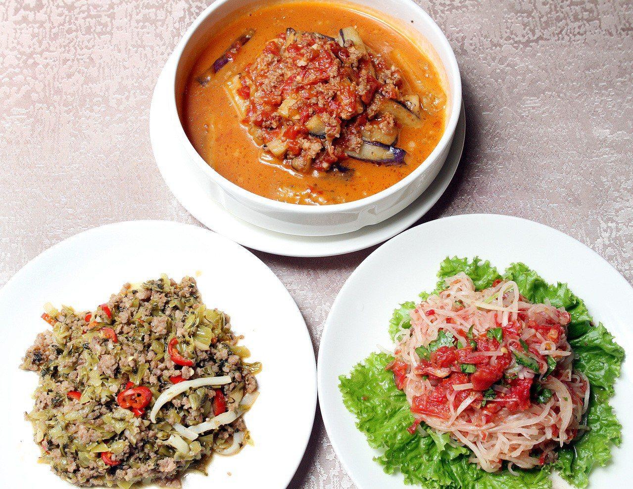 雲南料理「人和園」,涼拌結頭菜(右)、番茄肉末燒茄子(中)、酸菜肉末加花枝(左)...
