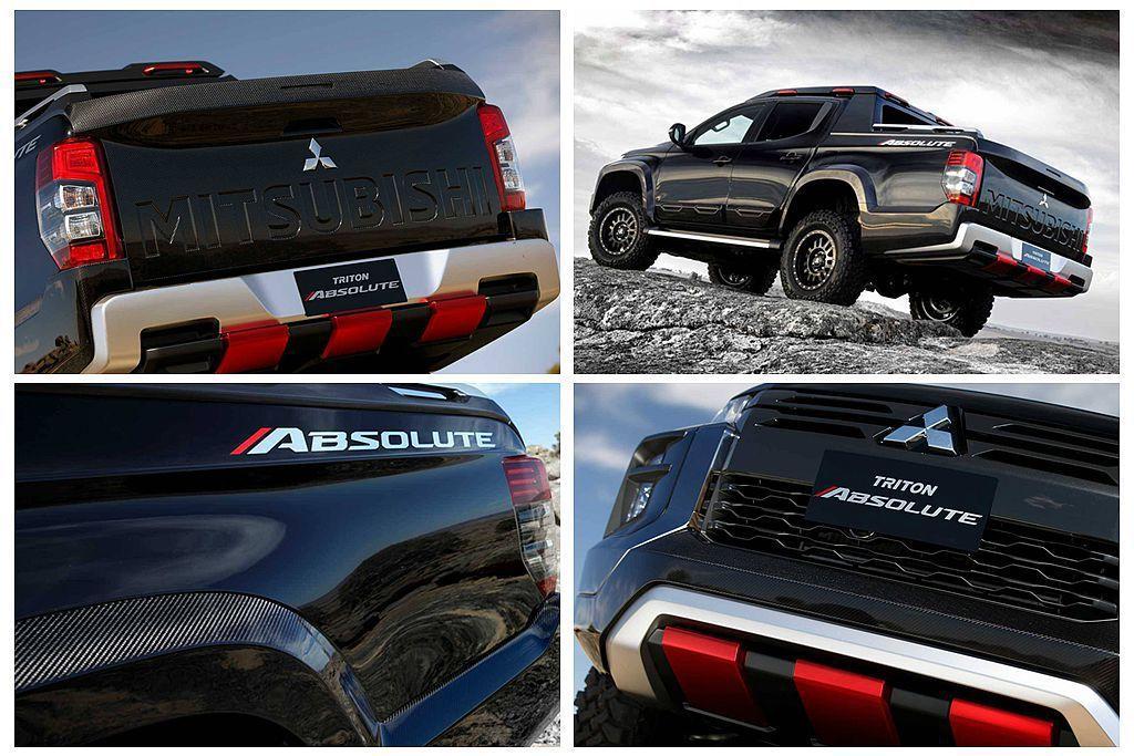 三菱Triton Absolute概念車換裝黑色新式水箱護罩,前/後下保桿、車側...
