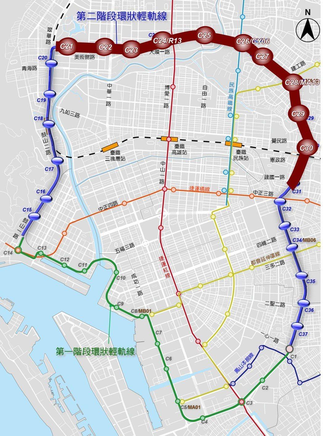 輕軌二階C21至C30(圖粗體棕色線)因經過人口稠密區,市府認定為「爭議路段」。
