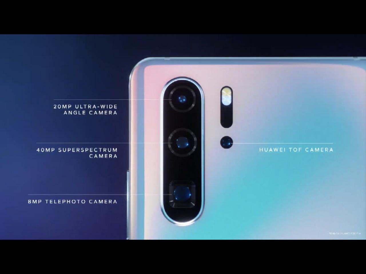 華為P30 Pro的鏡頭配置。圖/摘自發表會