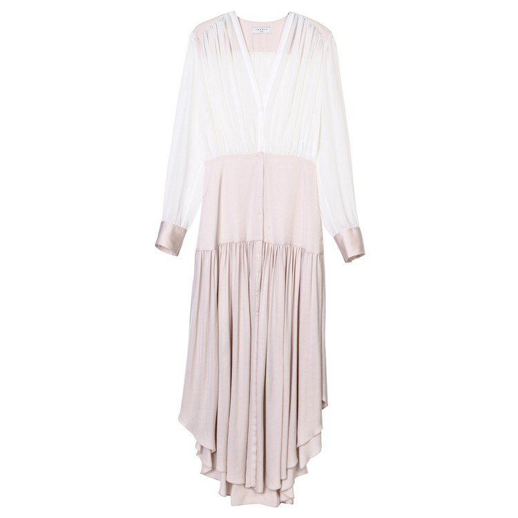 sandro淺玫瑰色拼接長洋裝,售價15,070元。圖/sandro提供