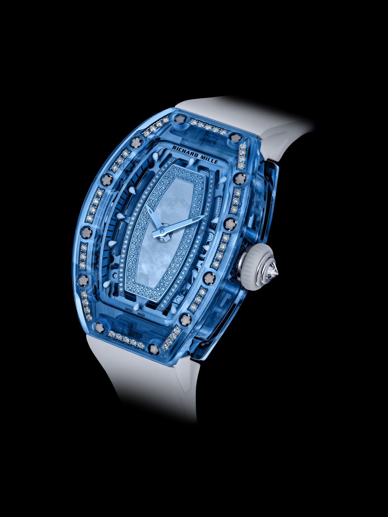RM 07-02鑲鑽藍寶石水晶女表,藍色藍寶石水晶玻璃表殼,搭配珍珠母貝表盤,價...