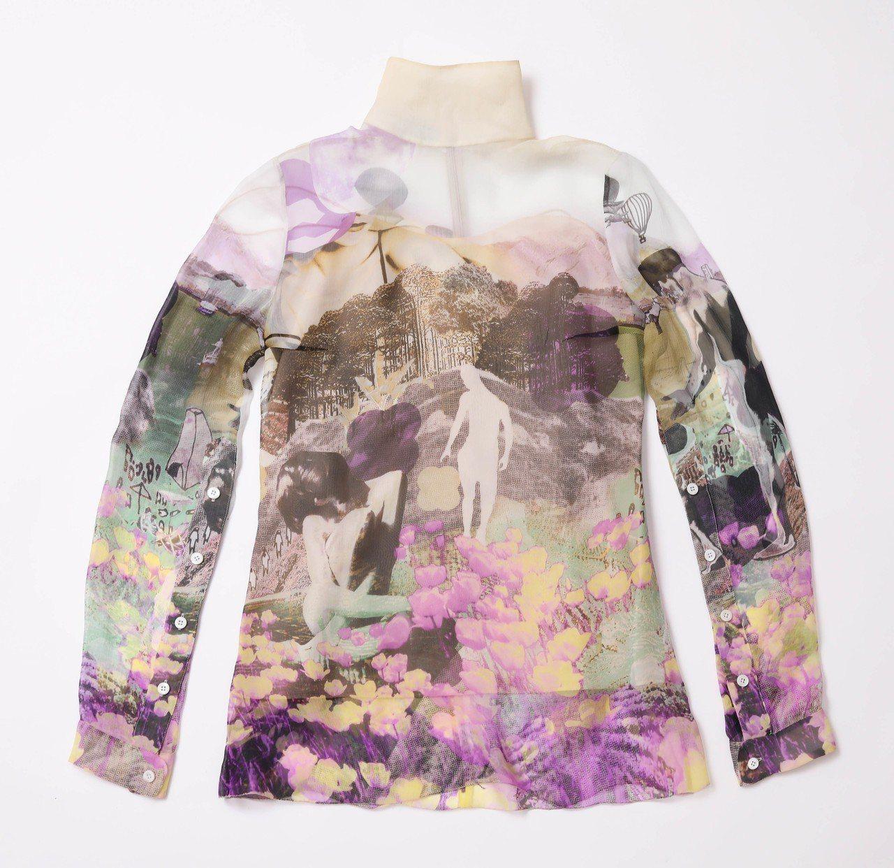 台灣獨家、台中大遠百獨家城市剪影系列雪紡上衣,40,500元。圖/PRADA提供