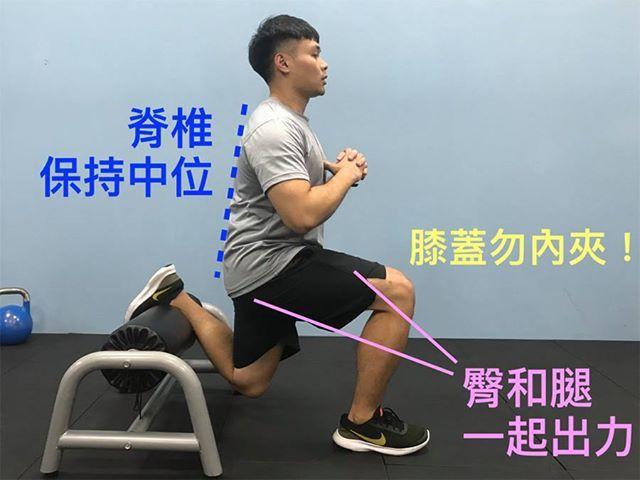 分腿蹲(後腳抬高蹲),由悍草訓練的 Leo 教練示範 圖片提供/好痛痛