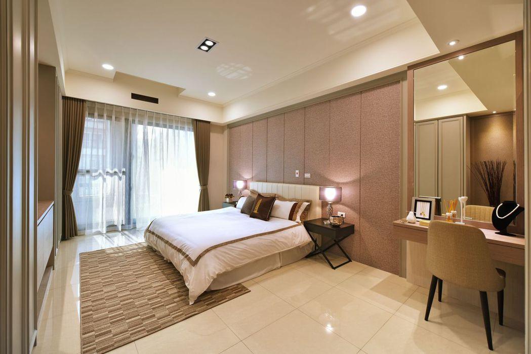 整層寬敞主臥大套房‧共享舒適甜蜜好時光。圖片提供/文陽鑫建設