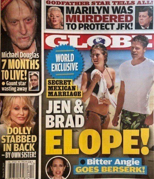 布萊德彼特最近又被傳與珍妮佛安妮絲頓在墨西哥「秘婚」。圖/摘自Globe