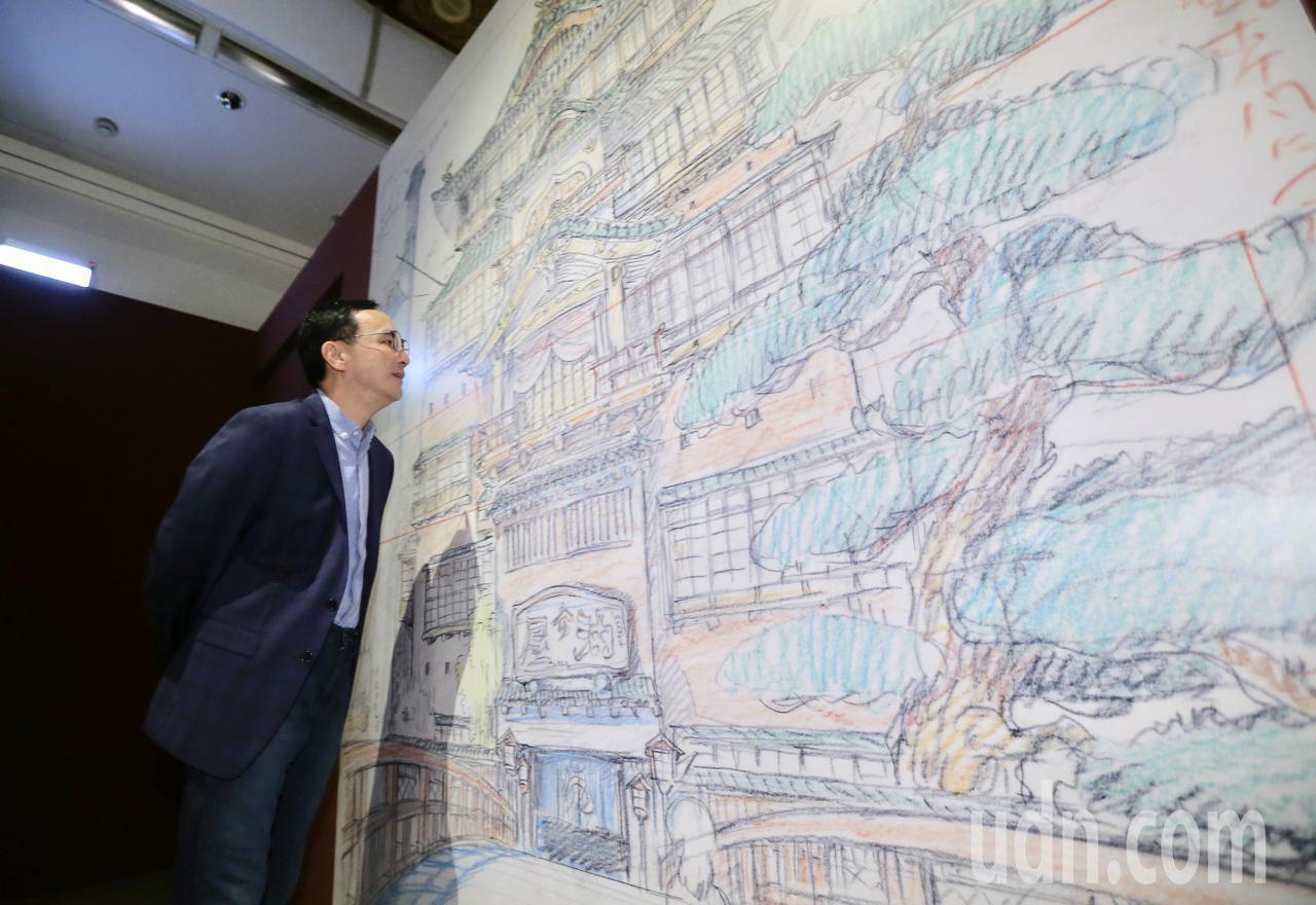 新北市前市長朱立倫參觀吉卜力動畫手稿展。記者許正宏/攝影