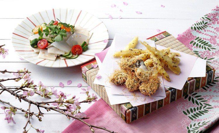 春季菜單中吃得到紅藜麥水晶魚、蚵仔春雨磯邊揚、曼波檸檬風味沙拉。圖/欣葉提供
