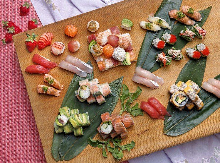 本季欣葉有酪梨鮪魚壽司、鮭魚芥末壽司、香蕉蝦壽司等多款握壽司新品。圖/欣葉提供