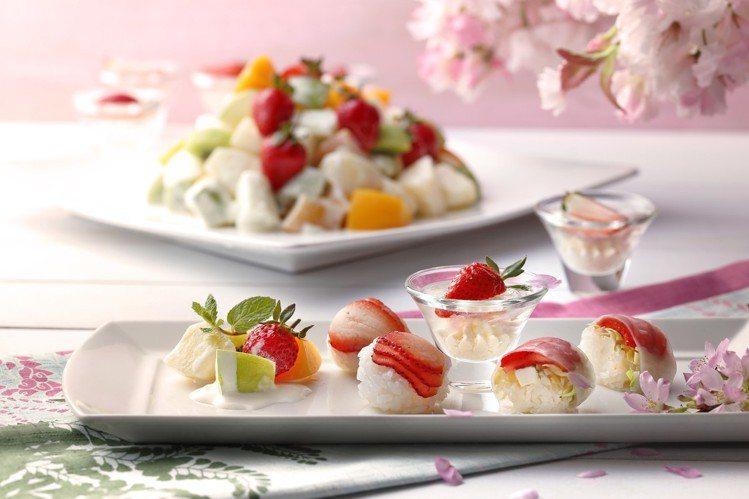 以草莓入料的春季草莓料理。圖/欣葉提供