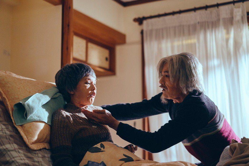 楊丞琳(左)和是元介在「握三下,我愛你」中老妝劇照,完全看不出是本人。圖/中視提...