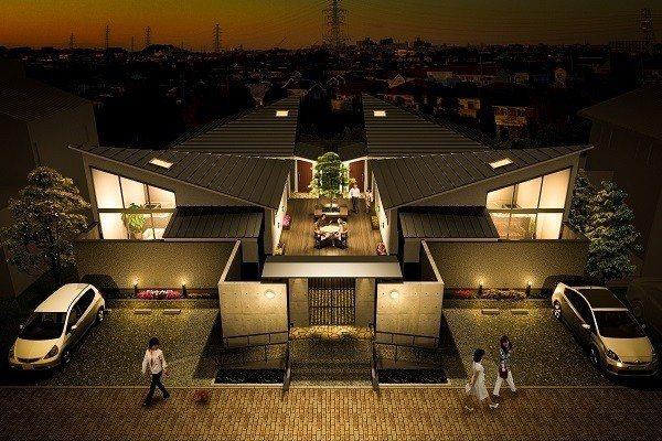 ↑Link House推出的熟齡住宅案型示意圖,4戶平屋共用一個庭院。(圖片來源...