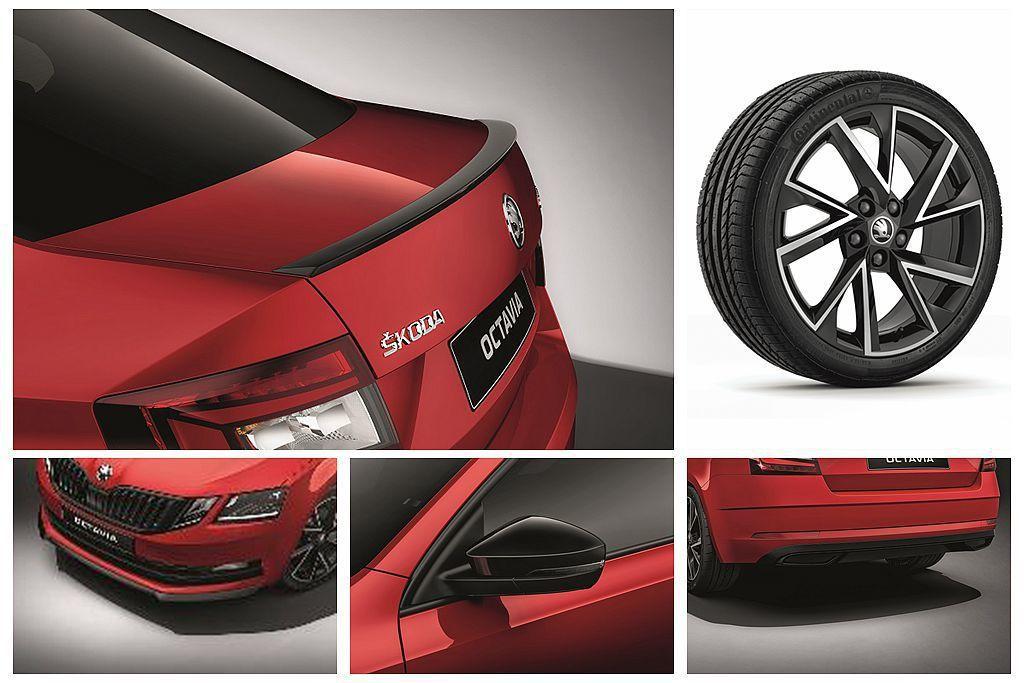 英國Skoda Octavia SportLine外觀增加黑色水箱護罩、黑色下擾流翼、黑色後視鏡外蓋、黑色擾流尾翼、18英寸Vega輪圈及黑色後下保桿等。 圖/Skoda提供