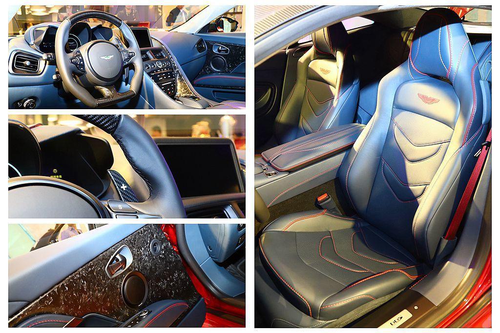 內裝配置Spicy Red座椅滾邊及紅色安全帶等,至於運動化方向盤還特別選用黑色真皮與碳纖維交織複合材質。 記者張振群/攝影