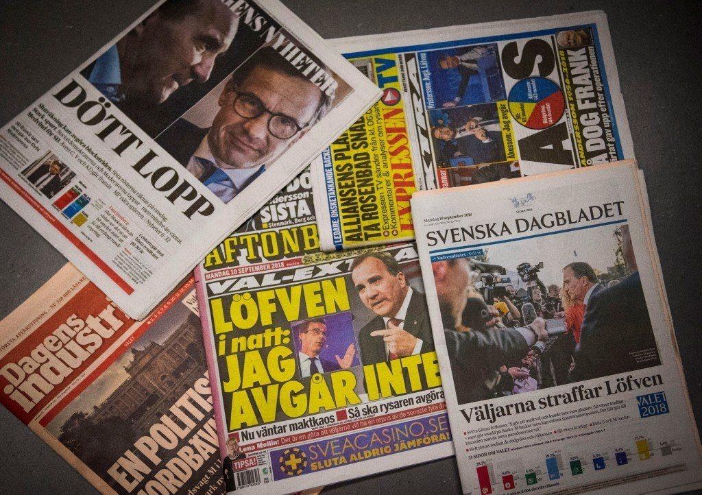 瑞典報媒,右下為《瑞典日報》。 圖/路透社