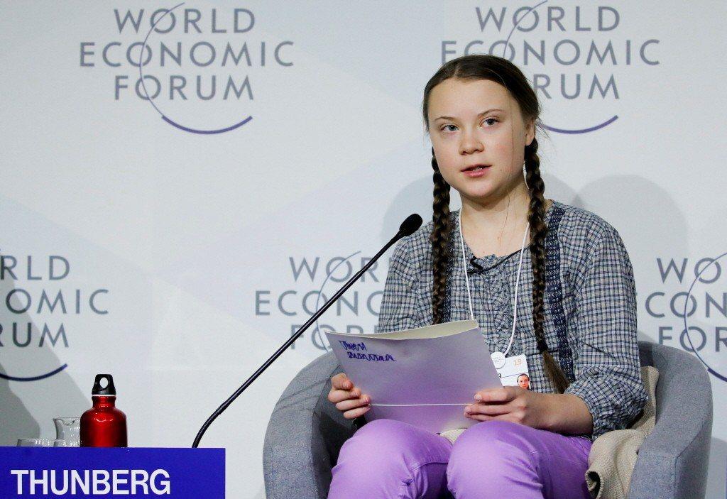 2019年1月,葛莉塔在瑞士達佛斯的世界經濟論壇,呼籲各界應重視氣候變遷帶來的警...