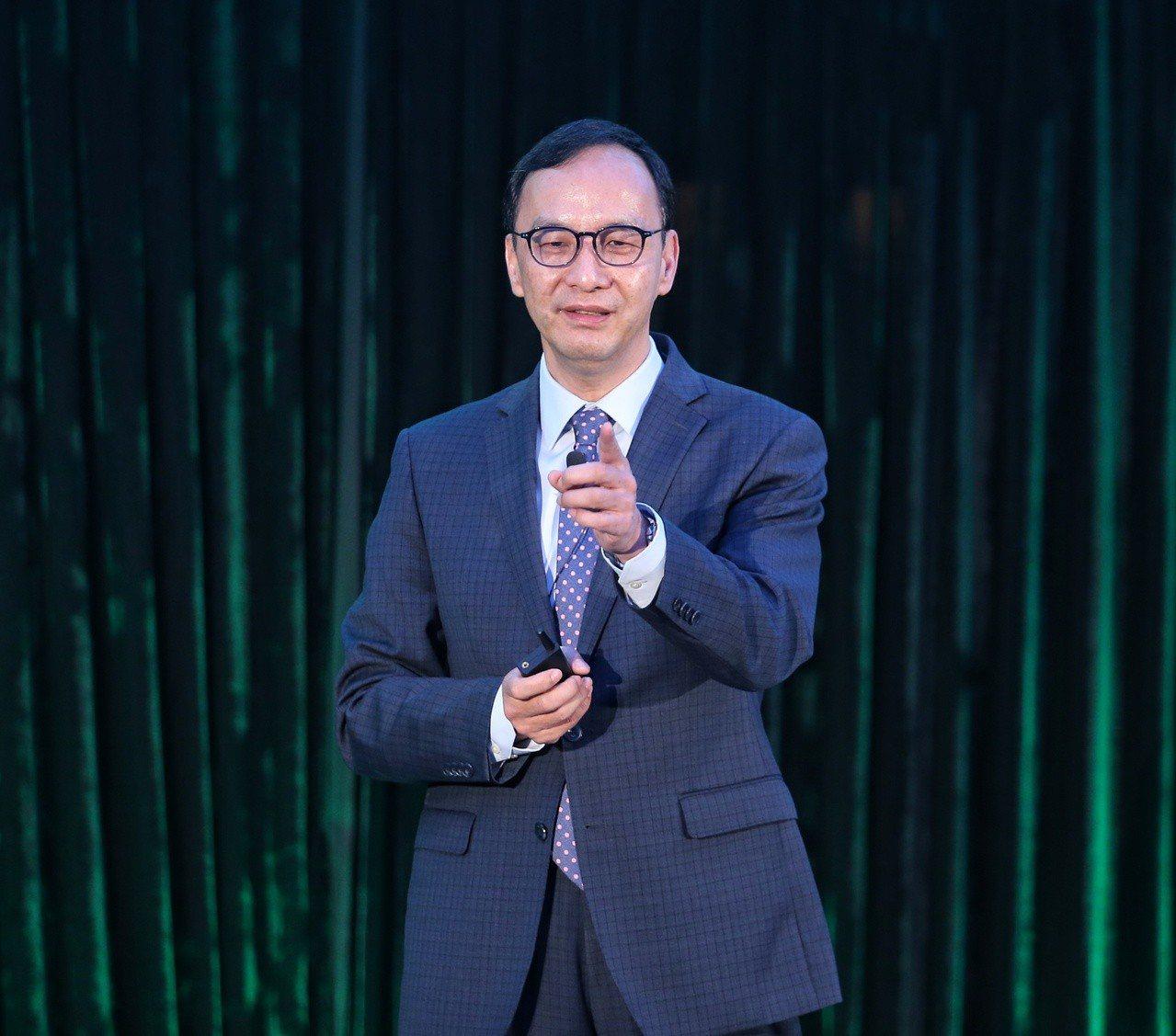 新北市前市長朱立倫上午出席亞太區高科技峰會,針對台灣科技與新創產業進行演講。記者...