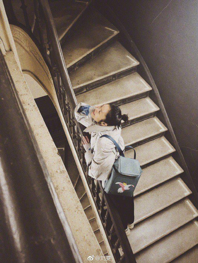 劉雯詮釋Goya石藍色小牛皮後背包,售價81,000元。圖/取自微博