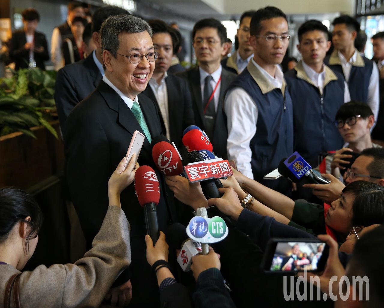 副總統陳建仁今天出席中央通訊社社慶,活動前接受媒體訪問。記者鄭清元/攝影