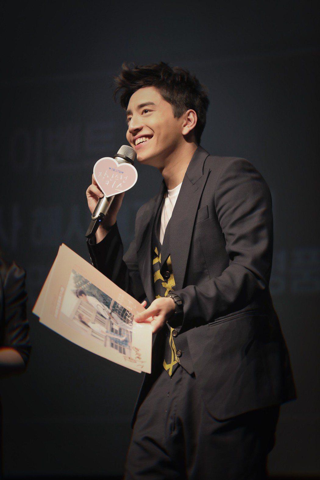 王大陸日前前往韓國宣傳電影「一吻定情」。圖/京騰娛樂提供