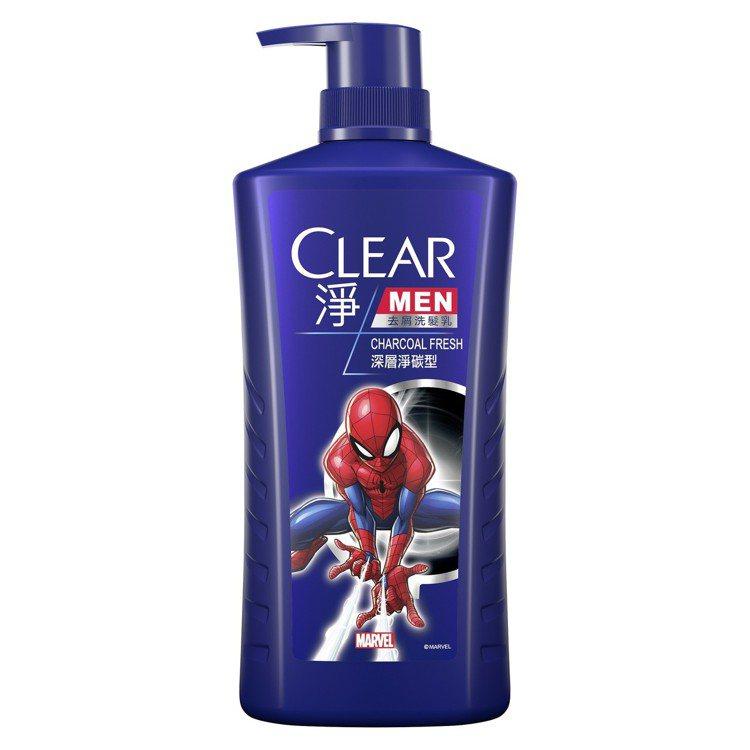 CLEAR淨男士去屑洗髮乳深層淨碳型「蜘蛛人版」,750g售價299元。圖/CL...