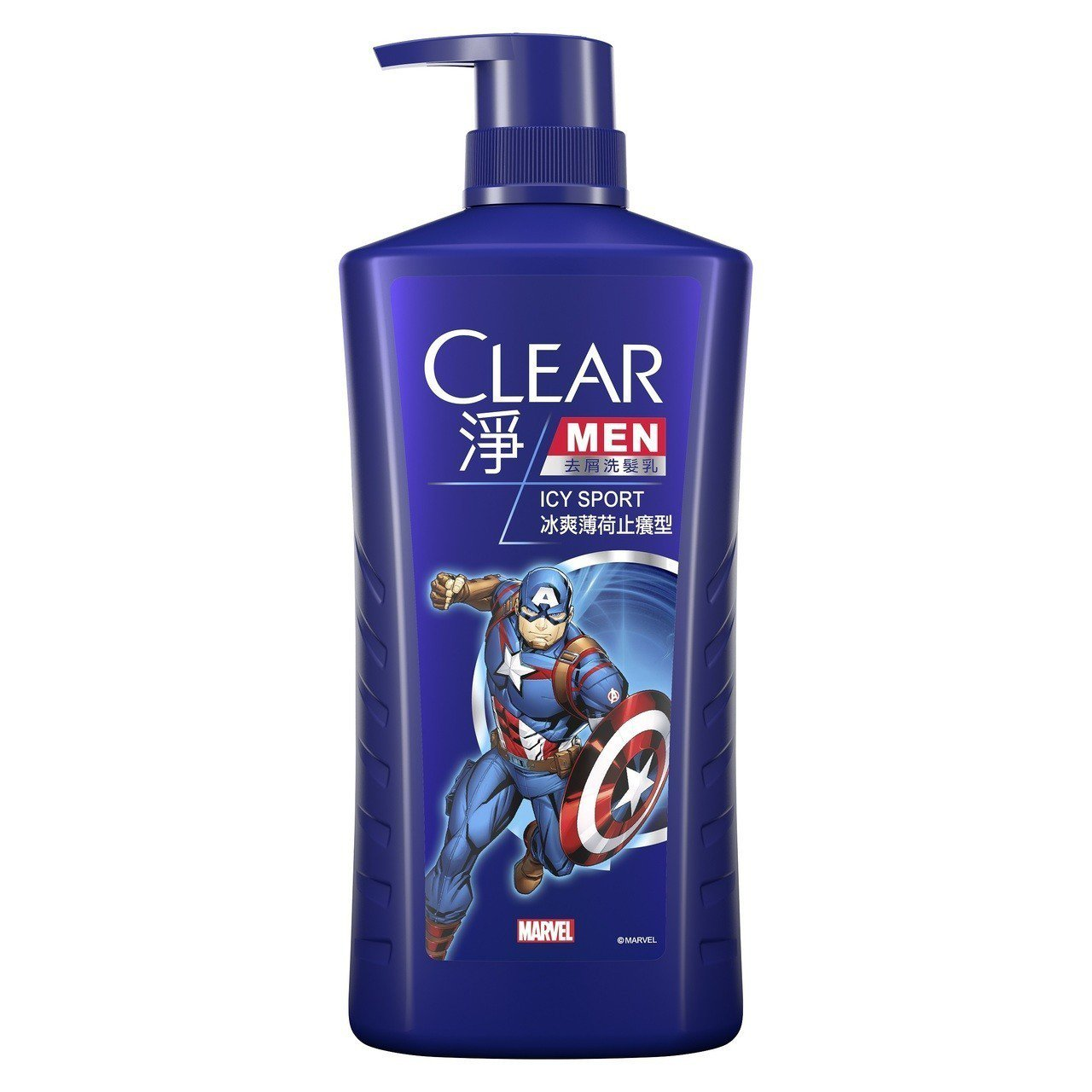 CLEAR淨男士去屑洗髮乳冰爽薄荷止癢型「美國隊長版」,750g售價299元。圖...