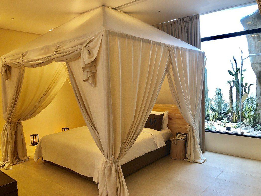 沙漠系列在房內打造一座非洲風格的帳篷,彷彿鑲嵌巨石的牆面,仙人掌植栽造景,自然野...
