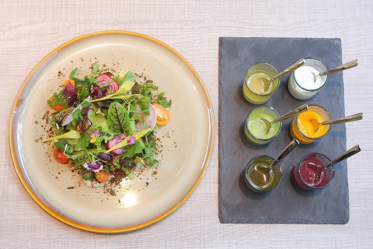 使用多款產地直送蔬菜的那瑪夏生菜沙拉,每份380元。記者陳睿中/攝影