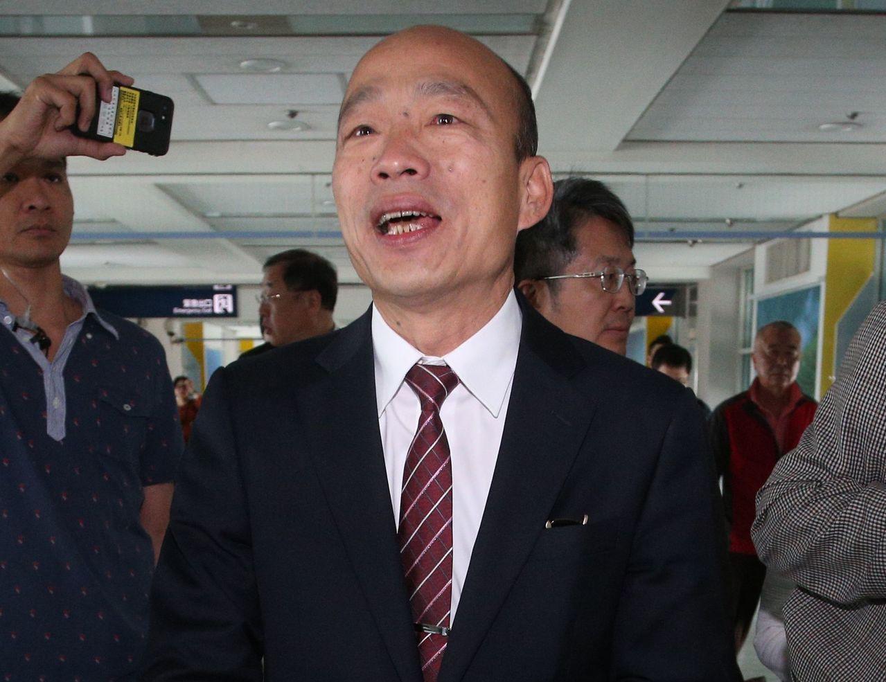 韓國瑜被媒體問到時,用唱的回答「堅持不考慮2020」。 聯合報系資料照/記者劉學...