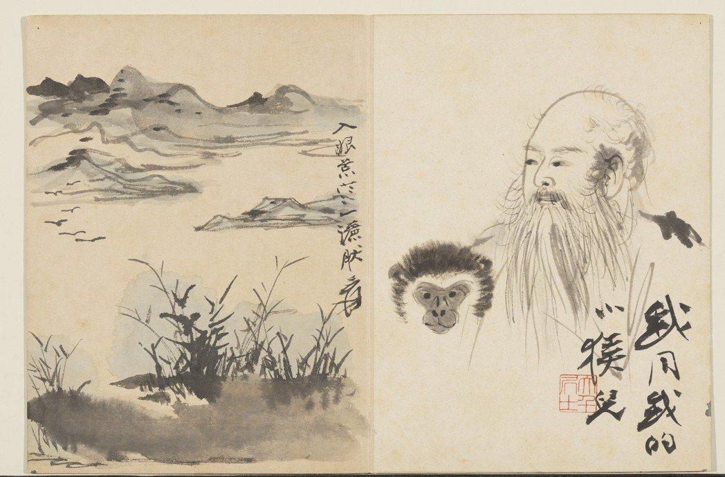 「我同我的小猴兒」成於1956年,當時張大千58歲。當年,大千首度遊歐,並與畢卡...