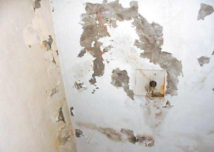 室內窗台及牆面油漆剝落,長時間潮溼而造成表層水泥長白毛、白華、結晶物等。 圖/信...