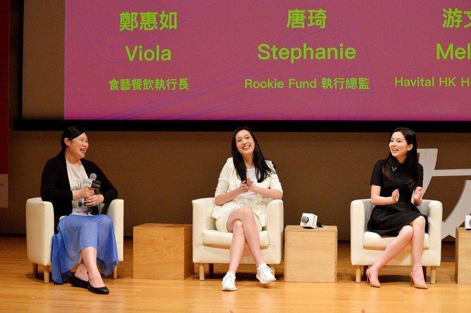2018 年《富比士》雜誌評選為亞洲地區 30 歲以下最具潛力傑出人士得獎者左起食藝餐飲執行長鄭惠如、Rookie Fund 執行總監唐琦、Havital HK Holdings 創辦人游文霖。圖片來源:女人迷提供
