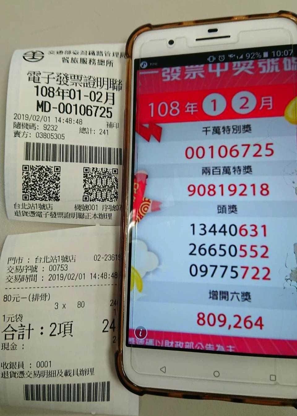 2月1日下午在台北車站買三個排骨便當的民眾,中了千萬大獎。圖/取自臉書粉專fun...