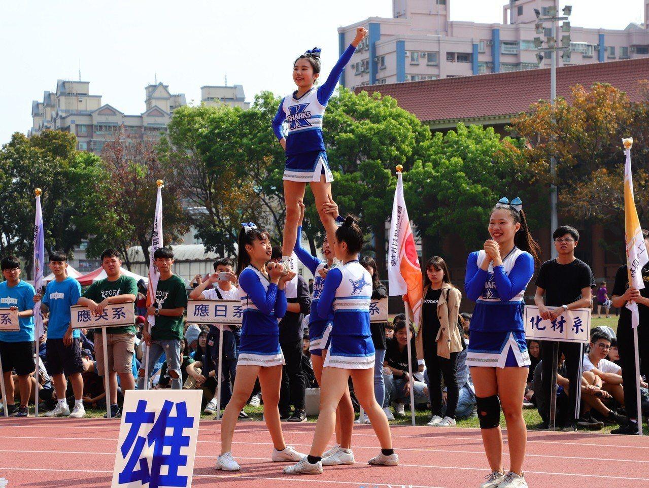 亞洲國際公開錦標賽冠軍sharks競技啦啦隊,帶來力與美的表演。記者徐如宜/攝影