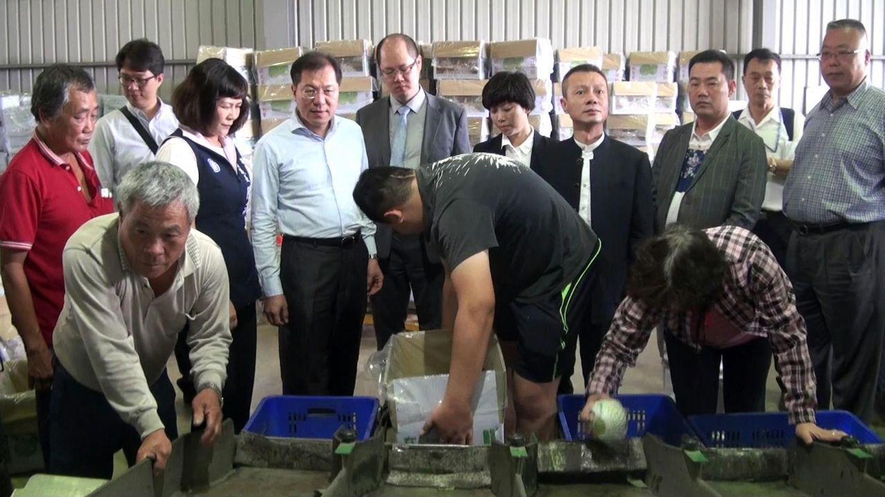 上海曾泰公司 一行人昨赴高雄燕巢農會多功能集貨中心現勘,同時下單42貨櫃。記者王...