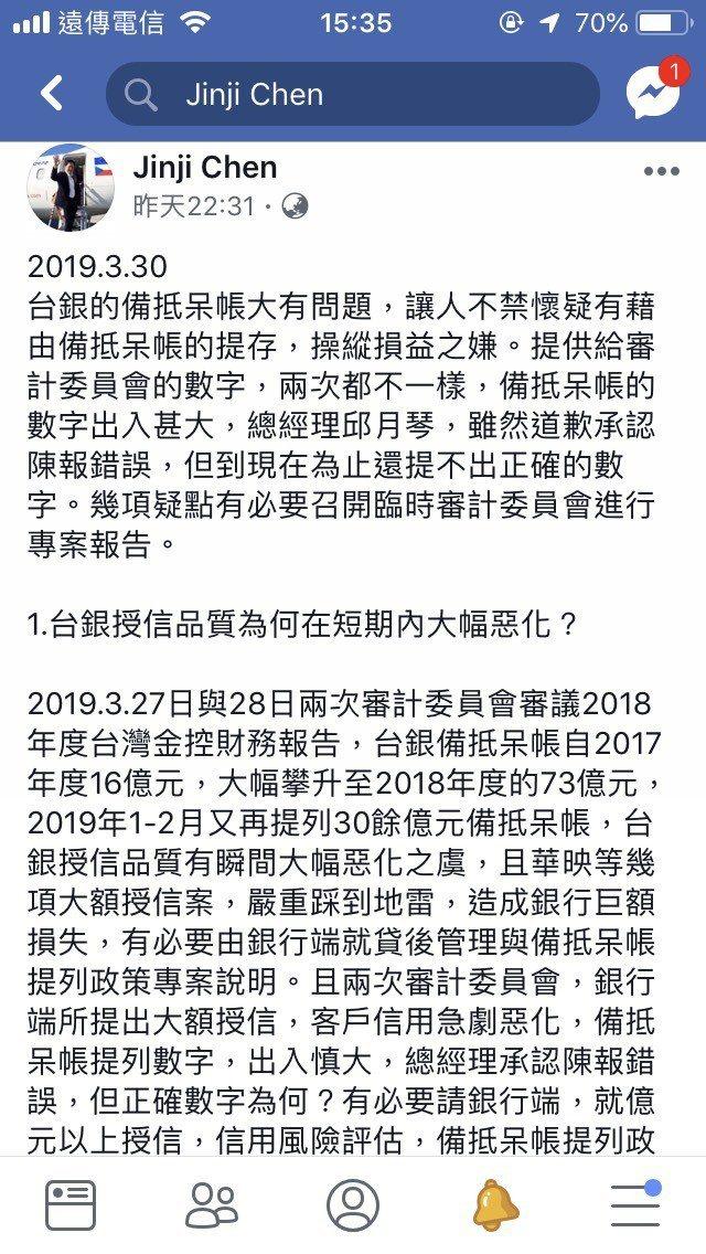 台銀大提備抵呆帳,母公司獨董陳錦稷在臉書發文「大有問題」。 圖/陳錦稷臉書