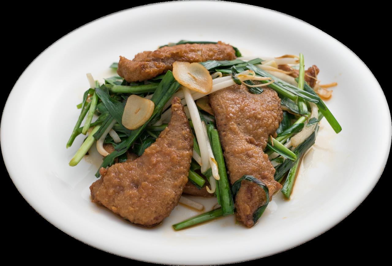厚切肝炒韭菜是餃子的王將的人氣菜色。圖/餃子的王將提供