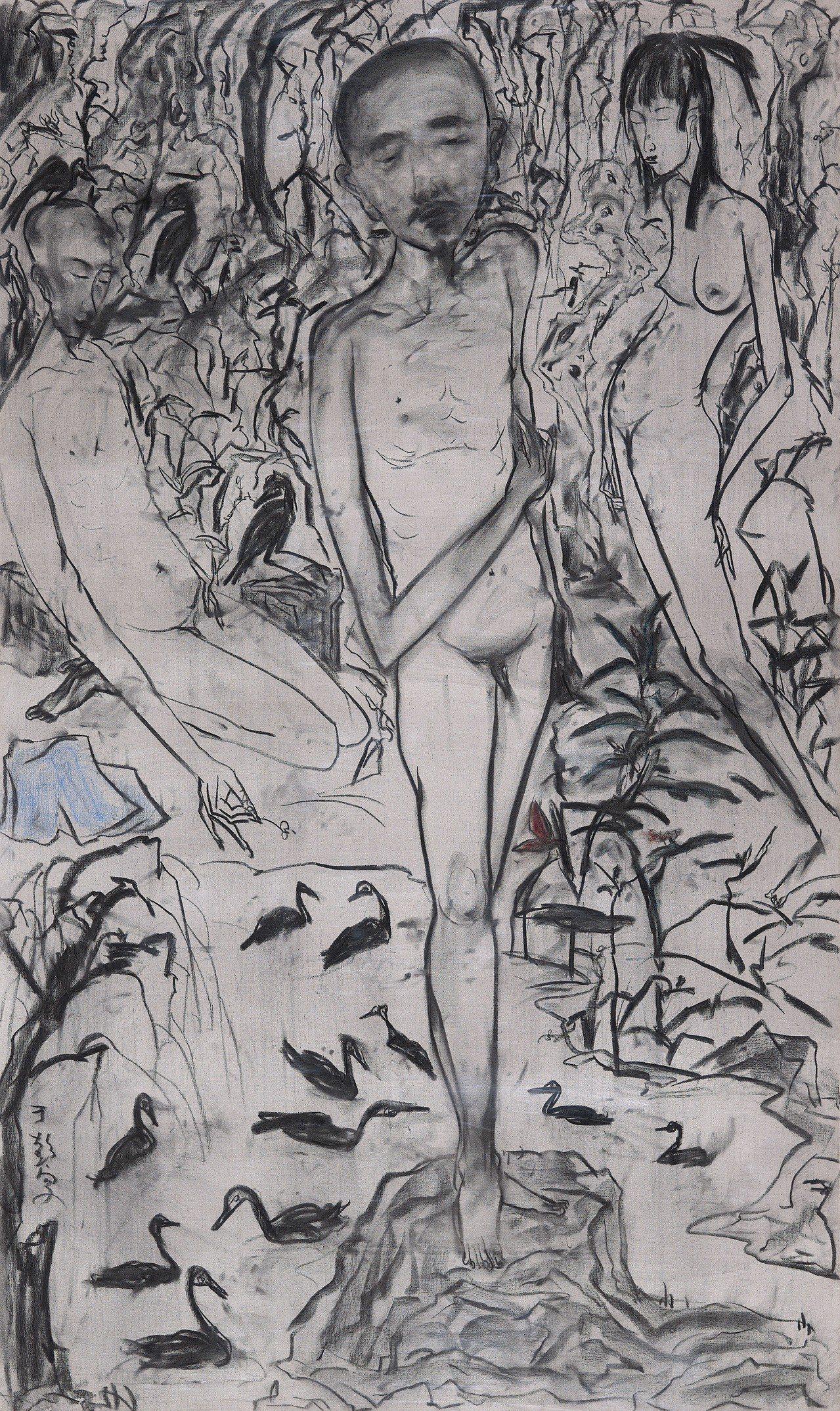 于彭病中自畫像,是于彭畢生最後一張畫作。圖/北美館提供