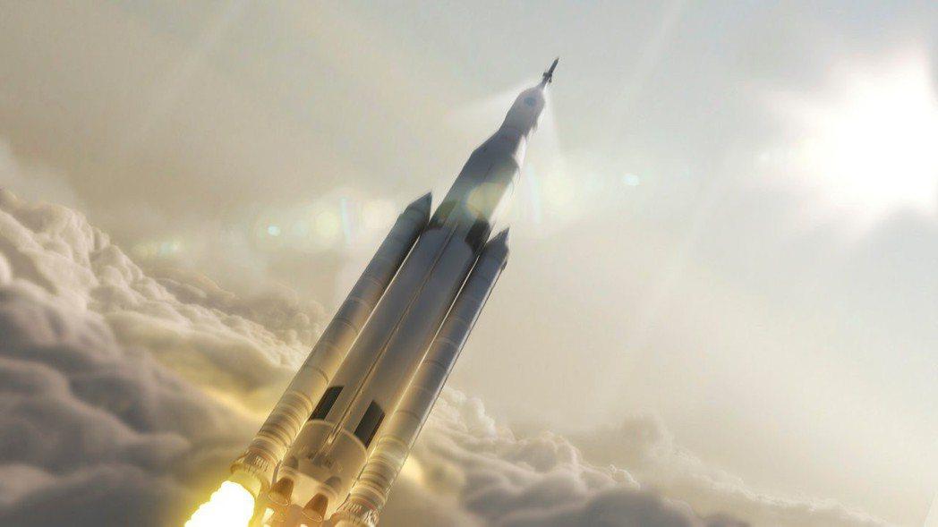 美國高載重太空發射系統(SLS)示意圖。這種新型火箭延發進度嚴重落後。 (路透)