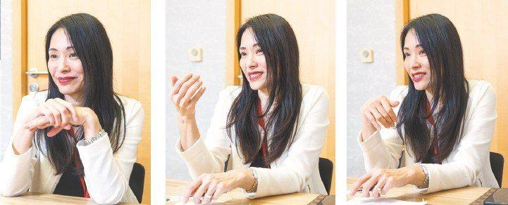 台灣IBM總經理高璐華受訪時,表情手勢豐富。 記者鄭清元/攝影